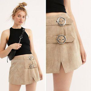 Free People Understated Leather Buckle Skirt Sz S